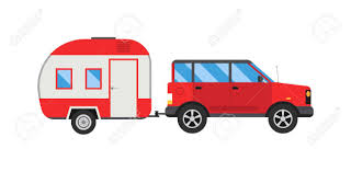 Car With Jeep Trailer Auto Transportation Vector Illustration ...