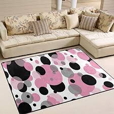 laure area rug teppiche tupfenmuster rosa grau schwarz