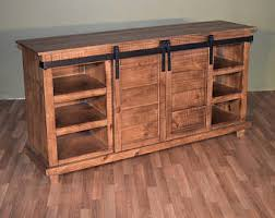 Rustic Style Solid Wood Barn Door Sliding TV Stand Sideboard Console