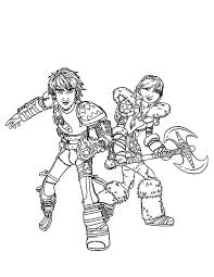 Perfect Couple Hiccup And Astrid In How To Train Your Dragon Coloring Pages