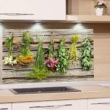 grazdesign küchenrückwand glas kräuter spritzschutz küche herd glasrückwand als glasbild 100x60cm