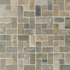 American Olean Chloe Mosaic Tile by Tumbled Slate Natural Stone Tile American Olean Indian