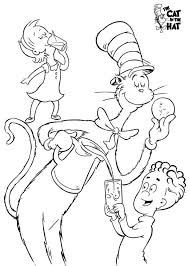 Dr Seuss The Cat In Hat Eat Cookie With Sally And Her Brother Coloring Page