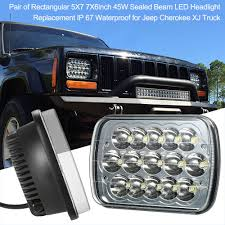 Pair Of Rectangular 5X7 7X6inch 45W Sealed Beam LED Headlight ... 092014 Ford F150 Pickup Truck Black Led Tube Bar Projector Halo Headlight Accent Lights With T314 Adapter Super Bright Leds Best 5 X 7 90w Square Led Driving Lamps With Hilo Lite Heated Headlamps Youtube Lumen Sb7655hlblk 7x6 Rectangular Headlights Headlight Bulbs Forum Community Of Fans 5x7 Buy Promotion Inch For 4x6 Polycarbonate Lens Alinum Low Fxible White And Amber For Custom 2 Pcs 4x6 Inch 12v 24v Trucks Trucklite Installation Writeup A Jeep Xj Cherokee Auto Headlamp 6x7 High
