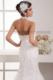 trumpet mermaid halter lace sweep brush train wedding dresses