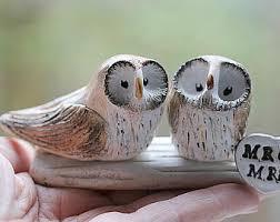 Handsculpted Barn Owls Cake Topper