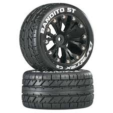 100 Truck Tired DuraTrax Bandito ST 28 Mounted Tires 2WD Rear Black DTXC3542