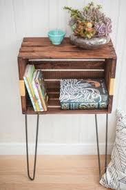 Wooden Crate Nightstand With Hairpin Legs Item Can Also Be Used As A Table Or Stand In Any Room For Extra Storage