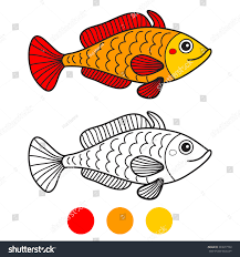 Fish Coloring Book Page Cartoon Vector Illustration Game For Children