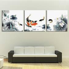 Framed 3 Panel Huge Chinese Art Koi Fish And Lotus Feng Shui Painting Black White