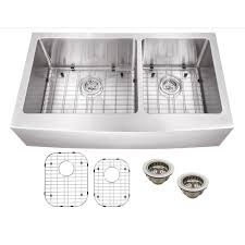 Home Depot Kitchen Sinks Top Mount by Schon All In One Apron Front Stainless Steel 36 In Double Bowl