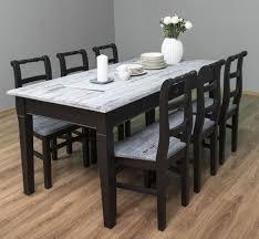 casa padrino landhausstil esszimmer möbel set antik weiß schwarz 1 esstisch 6 esszimmerstühle massivholz esszimmer möbel landhausstil möbel