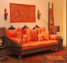 Ethnic Indian Living Room Interiors On Blue Wall