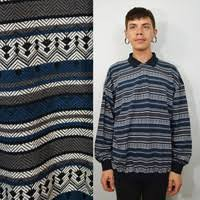 90s Mens Shirt XL Striped Pullover Collar Vintage Preppy Hipster Soft Grunge Back Blue Oversized 1990s
