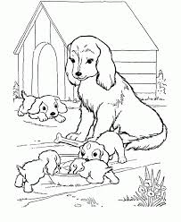 Dog House For Mother And Her Babies Coloring Page