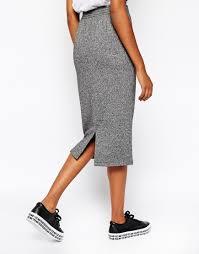 monki jersey pencil skirt in gray lyst