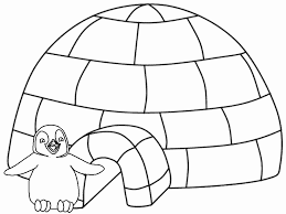Winter Coloring Pages Penguin Igloo Coloring4free