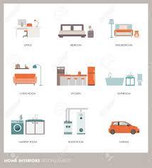konzeptionelle home innenräume mit objekten und ausstattung büro schlafzimmer badezimmer wohnzimmer küche garage waschküche und heizraum
