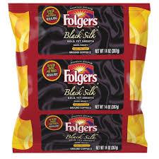 Folgers 14 Oz Black Silk Ground Coffee Filter Pack Caffeinated Dark Bold