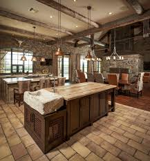 Good Looking Rustic Kitchen Countertops With Ceiling Lighting