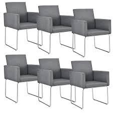 esszimmerstuhl mit armlehnen 6er set stoff textil polster stuhl in verschiedenen farben grau en casa