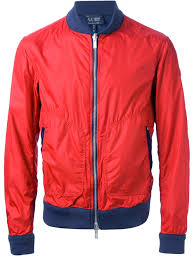 armani jeans reversible bomber jacket in red for men lyst