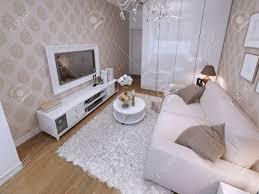 moderne wohnzimmer mit weißen kleiderschrank und audio mit tv grau tuch sofa in einem modernen stil 3d übertragen