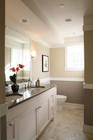 Two Tone Walls With Chair Rail by Two Tone Wall Bathroom Traditional With Wall Lighting Handle