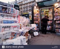 conforama place de clichy newspaper kiosk stock photos newspaper kiosk stock
