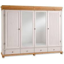 carryhome kleiderschrank 4 türig kiefer massiv weiß kieferfarben helsinki holz 7 fächer 252x218x62 cm antik echtholz typenauswahl