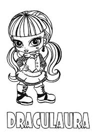 Draculaura Little Girl Monster High Coloring Page