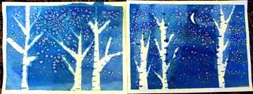 Kids Art Watercolor Winter Trees