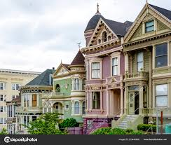 100 Victorian Property Row Colorful Traditional Houses San Francisco Stock