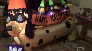 Walmart Inflatable Halloween Cat by Gemmy Halloween Inflatable Dachshund With Crows 2013 Youtube