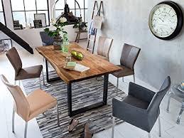 sam baumkantentisch 160x85 cm queenie nussbaumfarbig esszimmertisch aus akazie holz tisch mit schwarz lackierten beinen