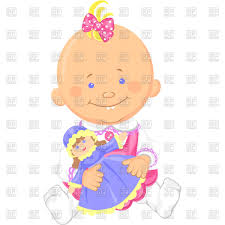 Cute Smiling Sitting Baby Girl Playing With A Toy Doll Vector
