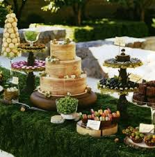 Dessert Buffet Wedding Table Decorating Garden Party Moss Wood Look Tablecloth Cake