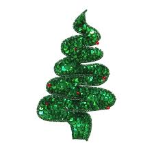 ID 8049 Sequin Christmas Tree Patch Swirl Holiday Decoration Iron On Applique