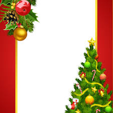 Red Christmas Frame With Tree