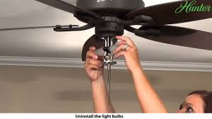 Plastic Outdoor Ceiling Fan Replacement Blades by How To Remove A Light Kit From Your Hunter Ceiling Fan 5xxxx