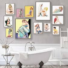 retro pin up mädchen poster und drucke bad wand dekor