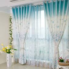 blue floral curtains pink yellow black green vintage