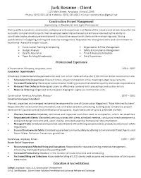 Construction Manager Resume Template Examples Sample Pertaining To Enchanting Software Project