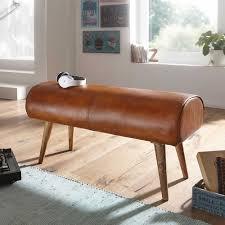 echtleder sitzbank in cognac braun rustikalen landhaus design