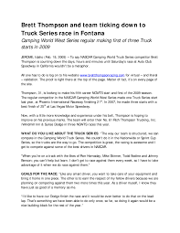 100 Nationwide Truck Series Brett Thompson And Team Ticking Down To Race In Fontana