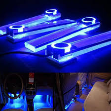 4in1 12V Car Decorative Lights Atmosphere Charge LED Interior Floor Lamp Blue Amazoncouk Motorbike