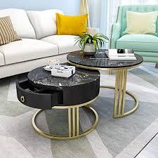 zrxian kaffeetische runder schwarzer marmor couchtisch mit schublade für wohnzimmer büro moderne dekoration metall gold