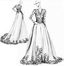 Elegant Dress Design Sketches Pictures Wedding Sketch Black And White Lace Vintage