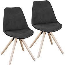 svita 2er set esszimmerstühle rund polsterstuhl stuhl gruppe küchen stuhl blau grau oder schwarz kunstleder retro schwarz
