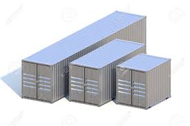 100 Shipping Containers 40 Metallic Ship Cargo 10 20 And Feet Length Stock Photo